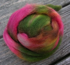 Green and Pink Roving