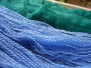 Blue Yarn, Green Roving